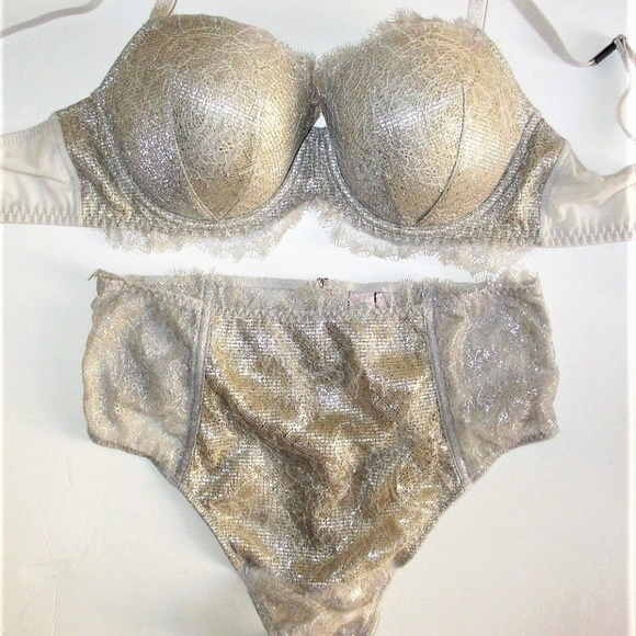 c365bd16a3 Lined Demi Bra Set 32DDD S Gold shine lace thong